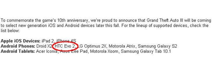 HTC EVO 2 Specs
