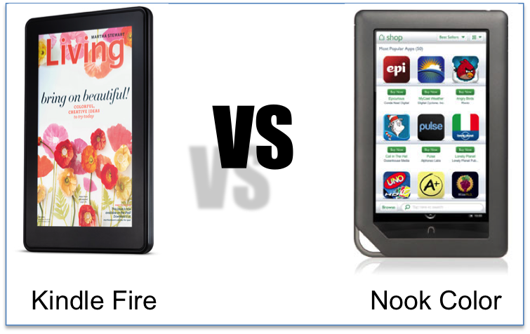 comparison of Nook color and Kindle Fire
