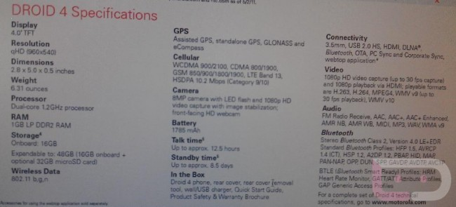 droid 4 official specs