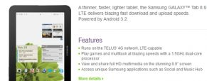 Samsung Galaxy Tab 8.9 LTE On Its Way to Telus Canada